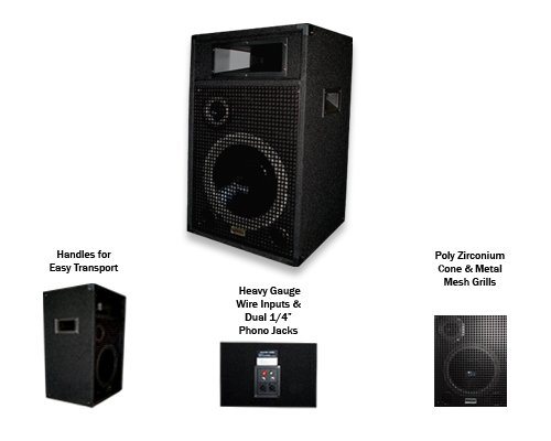 Acoustic Audio BR12 Professional DJ 12'' 1000 Watt PA Monitor Speaker by Acoustic Audio