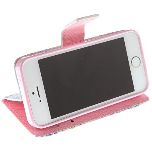 MOONCASE iPhone 5 Case Magnetverschluss [Painted Patterns] Leder Tasche Flip Case Cover Schutzhülle Etui Hülle Schale für iPhone 5 5S -LK07