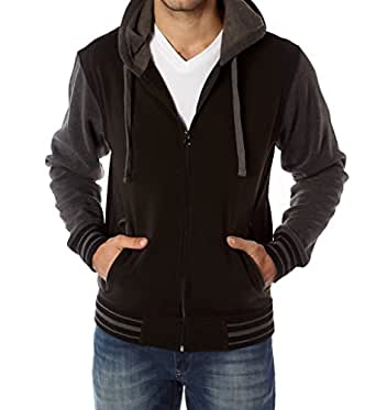 Vertical Sport Men's Fleece Hoodie – Varsity Two Tone Hooded Zip-Up Sweatshirt – Black, Small