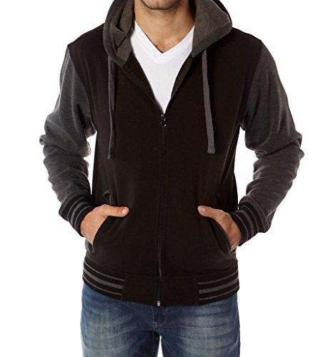 Vertical sport men's Two tone full zip fleeced - Mens Zip Up Lined Hoodie