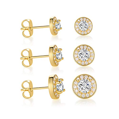 OPALBEST Yellow Gold Plated Stud Earring Halo Cubic Zirconia Hypoallergenic for Women Girls (3 Pairs)