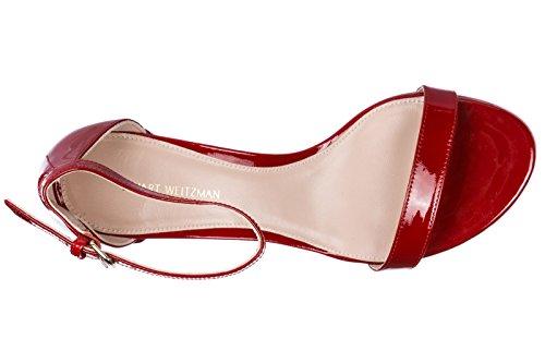 Stuart Weitzman Damen Leder Sandalen mit Absatz Sandaletten Rot