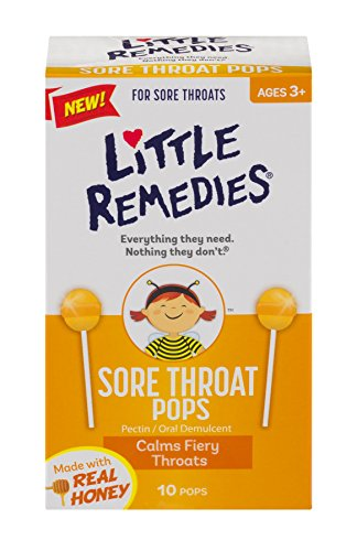 Little Remedies Sore Throat Pops | Made With Real Honey | Ages 3+ | 10 Pops