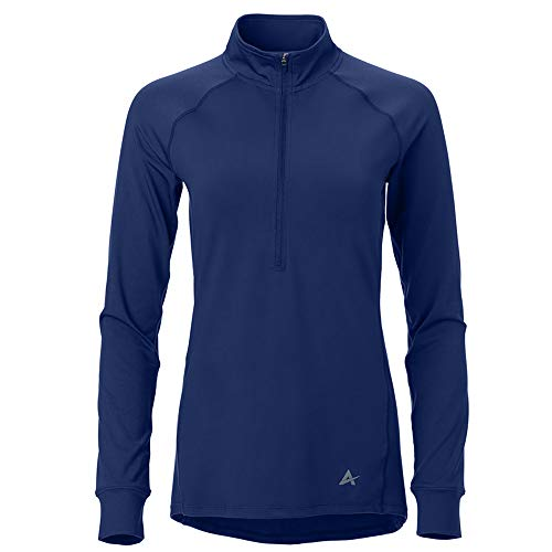 Arctic Cool Women's 1/2 Zip Instant Cooling Long Sleeve Shirt Performance Tech Breathable UPF 50+ Sun Protection Moisture Wicking Comfortable Athletic Gym Quick Drying, Midnight Navy, M