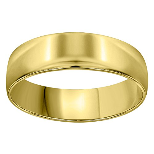 14kt Gold Unisex Dome Polished Comfort-fit 6mm-SZ9 Wedding Engagement Anniversary Band Ring