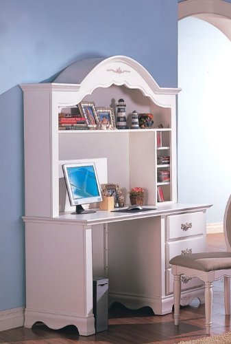 Computer Desk with Hutch Floral Painted in White ()