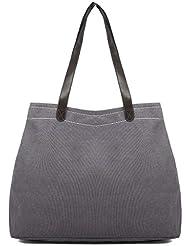 Casual Bag Simple Canvas Handbag Shoulder Bag Large Capacity Multi Compartment Canvas Bag
