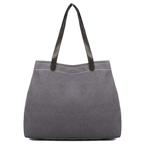 Casual Bag Simple Canvas Handbag Shoulder Bag Large Capacity Multi Compartment Canvas Bag Grey inches