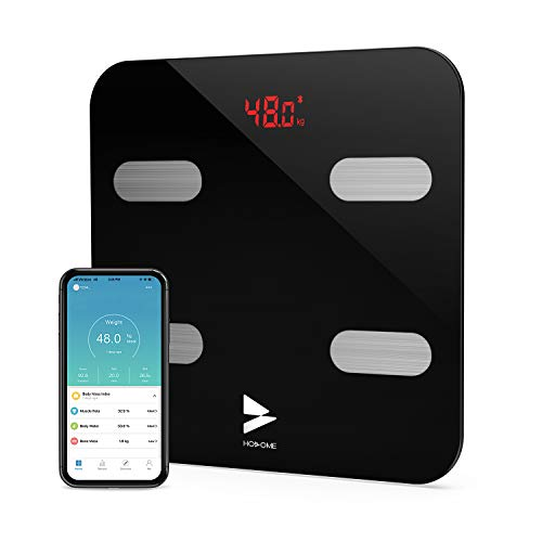 Bluetooth Body Fat Scale,Hosome High Precision Smart Digital Bathroom Weight Scale Body Composition Analyzer Health Monitor with iOS and Android APP for Water,BMI, BMR,Muscle Mass,396LB-Black
