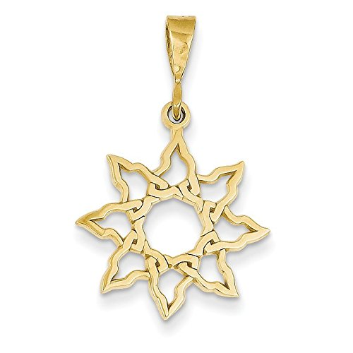 14K Yellow Gold Sun Charm - (1.02 in x 0.75 in) 14k Yellow Gold Sun Charm