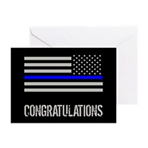 Officer Greeting Cards (CafePress - Police: Congratulations (Black Flag - Greeting Card, Note Card, Birthday Card, Blank Inside)