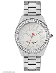 Betsey Johnson Womens BJ00190-07 Crystal Accented Stainless Steel Quartz Watch
