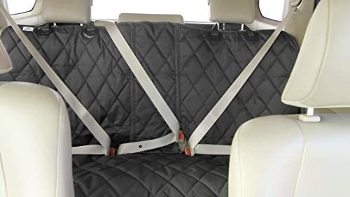 4Knines Dog Seat Cover Without Hammock for Fold Down Rear Bench Seat 60/40 Split and Middle Seat Belt Capable - Heavy Duty - Black Regular - Fits Most Cars, SUVs, and Small Trucks - USA Based Company by 4Knines (Image #3)