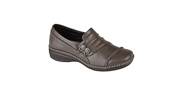 Ladies Womens Side Gusset Button Casual Shoes Wide Fit