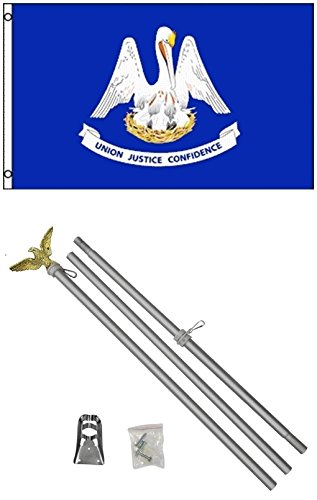 NEW 3'x5' LOUISIANA State Flags Polyester w/ 6' Aluminum POLE Kits