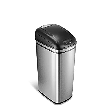 NINESTARS DZT-42-1 Automatic Touchless Motion Sensor Rectangular Trash Can, 11.1 Gal. 40 L., Stainless Steel