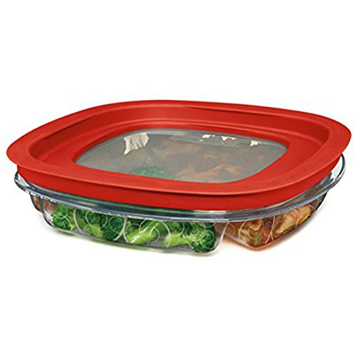 Rubbermaid FG7K75TRCHILI 4.3-Cup Divided Premier Food Storage Container
