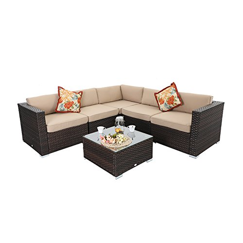 PHI VILLA Outdoor Rattan Sectional Sofa- Patio Wicker Furniture Set (6-Piece 1, Beige) (Patio Costco Sectional Furniture)