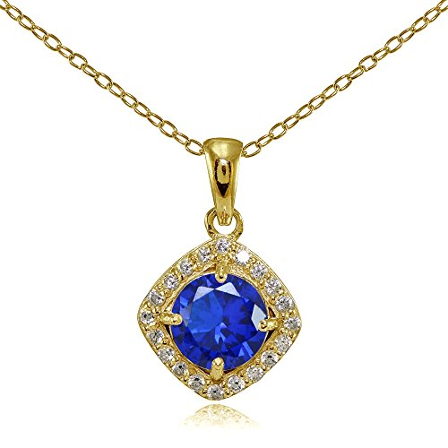 Yellow Gold Flashed Sterling Silver Simulated Blue Sapphire 7mm Round and CZ Accents Necklace (Pink Sapphire Yellow Necklace)