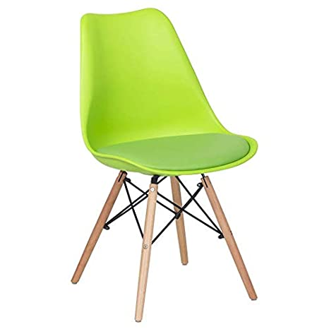 Finch Fox Eames Replica Nordan DSW Stylish & Modern Furniture Plastic Chairs with Cushion for Cafeteria Seating/Dining Chair/Side Chair/Kitchen/Restaurants/Hotels (Green Color)