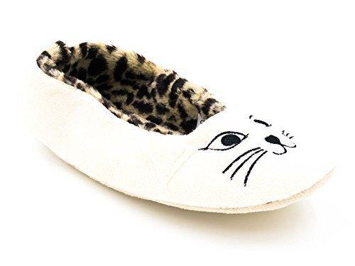 Ks Merker Damene Katt Ansikt Ballett Tøfler Med Leopard Print Indre - Svart / Krem krem