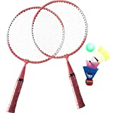 SuperbUla Portable Badminton Set for Kids with 2 Rackets, Includes 1 Ball & 4 Birdies & 1 Carry Bag (Pink)