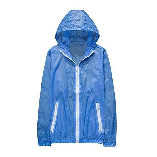 Grazioso Outdoor Protezione Fashion Windbreaker Prodotto Giacca Blau Con Plus Eleganti Colori Lunga Manica Facile Donna Solare Solidi Autunno Primaverile Cerniera Casuali Outerwear Cappuccio nN8OX0wPkZ