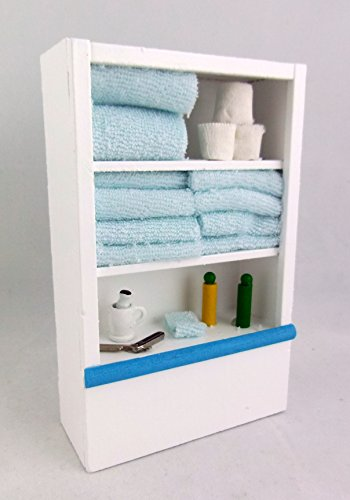 Dollhouse Miniature White Cupboard for Bathroom w/ Accessories