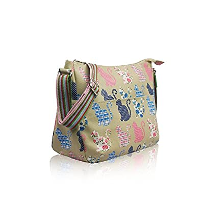 Womens Ladies Oilcloth Butterfly Cross Body Messenger Bag Women Shoulder Tote Satchel Handbag Beige/Cat - more-bags