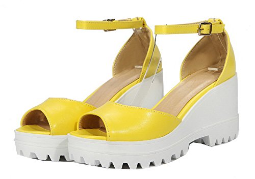 Solid High Toe VogueZone009 Sandals PU Buckle Heels Women Yellow Peep 0HrHP5