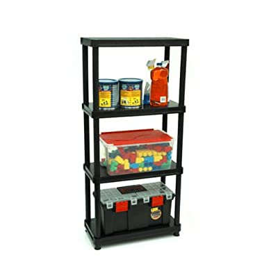 GSC 1224-4SR 4-Level Shelving Unit with Floor Risers, Black