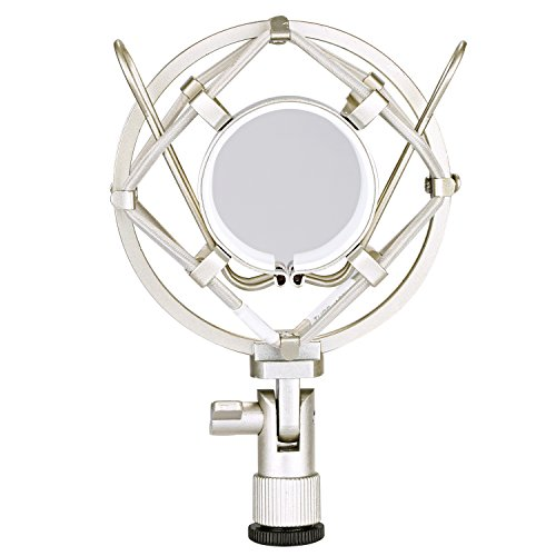 Neewer Silver Microphone Shock Mount Holder Clip Anti Vibration Suspension High Isolation for Studio Condenser Mic, Ideal for Radio Broadcasting Studio, Voice-over Sound Studio and Recording