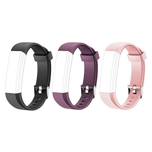 Letsfit Replacement Bands for Fitness Tracker ID115U HR, ID115U HR Accessory Bands, Adjustable Replacement Straps, 3 Pack (Black, Pink, - Replacement Band