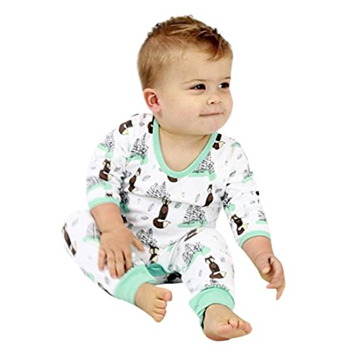 Sunbona Toddler Infant Baby Boys Cartoon Fox Trees Print Long Sleeve Romper Jumpsuit Pajamas Outfits (12~18months, (Ornaments Pajamas)
