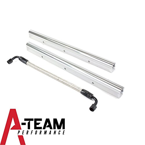 (A-Team Performance High Flow Fuel Rails Billet Aluminum W Connect Lines Compatible with Ford 5.0L Coyote Engine Mustang F150 Silver )