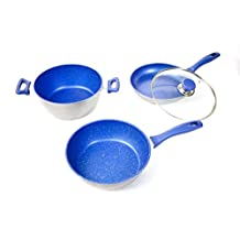 """FlavorStone™ Gemstone-Tough, Sapphire Non-Stick Cookware 4-Piece 9.5"""" Master Set: The Only Cookware You'll Ever Need! As Seen On TV!"""