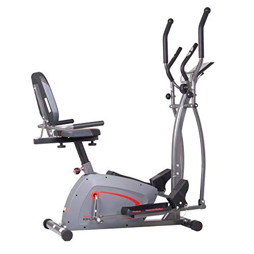 Body Champ Trio Trainer All in One Elliptical, Upright Stationary, and Recumbent Exercise Bike Plus Seated and Sprint Road Bike Cycling BRT5350
