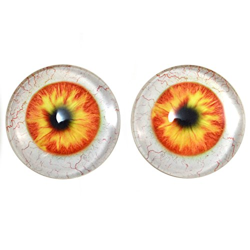 40mm Pair of Orange and Yellow Human Glass Eyes, for Jewelry Making, Dolls, Sculptures, More]()