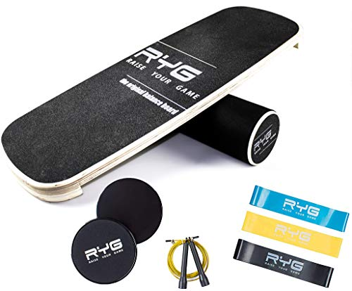 Raise Your Game Balance Board Trainer Agility Set, Wooden Wobble Roller for Exercise Sports, Training Equipment for…