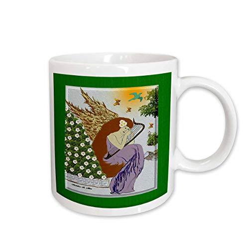 3dRose Angel Playing Harp in a Garden Christmas Art 9 Ceramic Mug, 15-Ounce