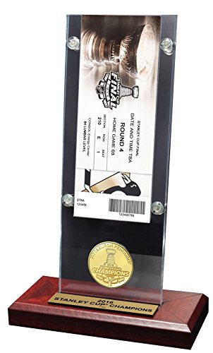 "NHL Pittsburgh Penguins 2016 Stanley Cup Champions Acrylic Desk Top Ticket & Coin, Bronze, 12"" x 2"" x 5"""