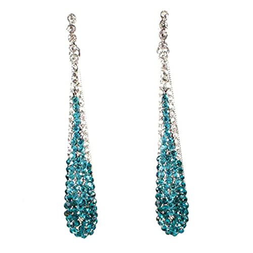 Teal earrings amazon janefashions austrian crystal rhinestone drop chandelier dangle earrings bridal e2094 teal or white teal mozeypictures Images