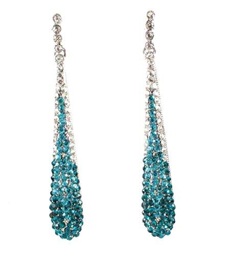 Janefashions Austrian Crystal Rhinestone Drop Chandelier Dangle Earrings Bridal E2094 Teal or White (Teal)
