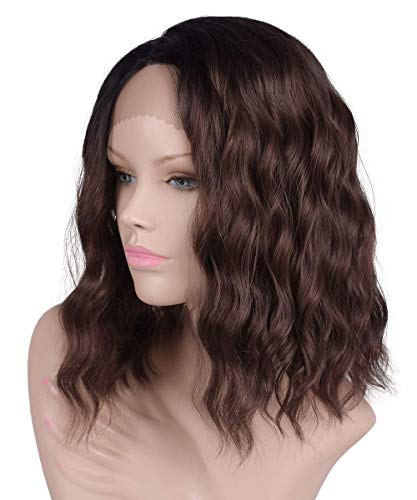 Bob Length Shoulder - Daiqi Curly Wavy Dark Brown Lace Front Wig for Black White Women Dark Roots Ombre Shoulder Length Bob Chocolate Brown Lace Front Wigs (14Inch Brown)