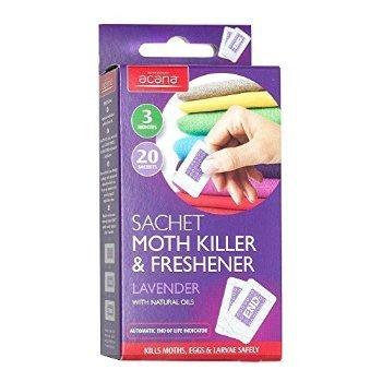 2 X Pack of 20 Acana Moth Killer & Freshener Sachets with Lavender Fragrance