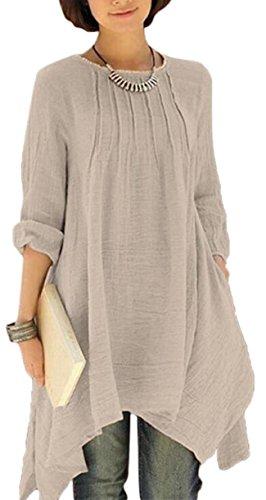 Stylish Coffee Jaycargogo Loose Hem Women's Dress Pullover Big Base Irregular 56w6UqvS