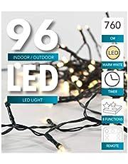 LED-ljusslingor, batteridriven, med timer, grön kabel, för inomhus- eller utomhusbruk, varmt vit, kall vit 96er + Fernbedienung