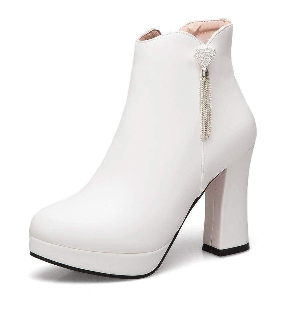 SHOWHOW Damen Strass Troddel Runde Ankel Ankel Ankel Stiefel Stiefeletten Mit Blockabsatz 8fbd23