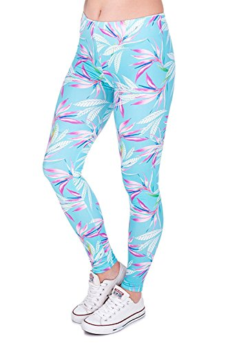 Alive Digital Printed Women's Full-Length Yoga Power Flex Dry-Fit Pants Workout Leggings Ombre Print Thin Capris(XS - L) (Orchid - Length Leaf Full Print