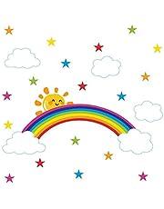 Bamsod Rainbow Wall Stickers Kids Wall Decals Nursery Home Decor 43x96cm